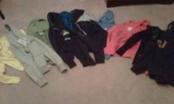 11 hoodies sweaters for sale.  All in excellent shape and some have been only worn a couple of times.  I am selling them as a lot.   1 navy blue abercrombie and finch hoodie size small   The rest are GAP, Roxy, Aeropostale etc.  All are XS/S/M