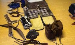 """Saddle bags with ties, 4 saddle pads, leg wraps, 2 tush Cush, 2 crib collars, lunge line, 2 breast collars, shipping boots, trail pads, Royal Grackel bridle. ( new ). 78"""" and a 82"""" winter blankets Horsemans choice wall feeder 175.00 ? ??. Phone calls only"""