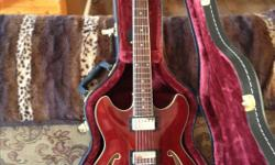2007 Ibanez hollow body electric guitar,burgundy with beautiful hard shell case