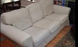 Washable cover less than a year old. No smells or stains. In 7.5 out of 10 condition. Changing our decor. Priced for quick sale. Firm on Price. You pick up.