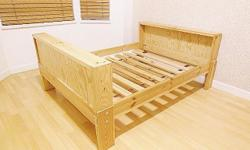 """Ikea VIKARE Extendable Junior Bed Frame - Toddler to Twin - soild wood - L55-7/8"""" / 66-5/8"""" / 77-1/4"""" x W41-3/8"""" x H23"""" - used, in good condition, has some chips & scratches (see photos for condition). Assembled - $160 firm (bed frame only, no mattress"""