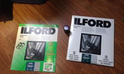 Roll of 3600iso ilford bw film Ilford photography paper, about 18 sheets Ilford development chart 20$ takes it all
