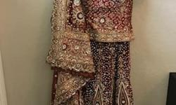 Beautiful embroidered Bridal Lengha. -3 piece set -only worn once for 3 hours -dry cleaned -excellent condition Email jazzbamra@hotmail.com