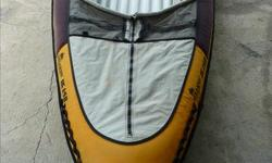 """Inflatable Kayak 11'6"""" , paddle and pump. very nice to paddle,stable,and has tracking and fin.Vary durable and well made, and comfortable to paddle. the boat is a Stearns outdoors IK 140 Model"""