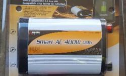 Brand new in package. T red out I needed a much larger one b t let St my receipt so can't return it. Smart ac power Inverter 400watt with 2 x USB plugs as well as 2 x 3 prong house plugs. This comes with the wiring to hook the clamps directly to the