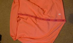 fluroscent orange (just dark in photo) no stains, almost new, barely worn excellent condition, clean, non-smoking home snaps on scarf make it versatile and can turn into infinity scarf (just smaller size of adult Lulu lemon scarf)