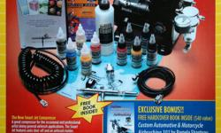 Everything the artist needs to get started right out of the box! IMPRESSIVE GIFT FOR AN ARTIST! The best on the market for a variety of airbrushing uses. Stainless steel Airbrush - better quality than Aztec, Paache or Badger. Includes instructional DVDs,