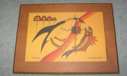 "11"" x 8 1/2"" Jackson Beardy Laminated custom plaque of Loon and Fish .Steve 250-479-8348"