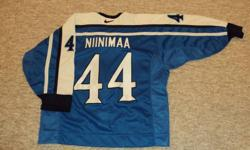 """Janne Niinimaa Team Finland Jersey   Authentic Pro Jersey (not a knock off and never worn - compare @ $400)   $275.00 (serious enquires only)   I am willing to take REASONABLE offers on all items (except marked """"firm"""").   Please see poster's other ads by"""