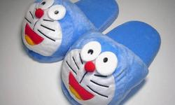 """Japanese Cartoon Doraemon Plush Slippers - measures 10-1/4"""" from the toe to heel, fits sizes 6-8 - brand new, never been used - $20 firm"""