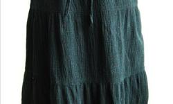 """Jeans Wear - Boho Style Skirt - black fabric w/ lining, red embroidery - elastic waist - size S/M - waist: 24-30"""", length: 26"""" - in good condition - $10 firm"""