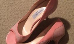 size 40 pink peep toe in excellent condition 3 inch heels.