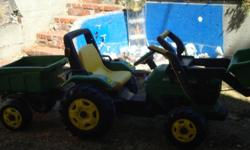 This would be suitable for 3-8 yr olds. The kids can drive, scoop, haul, pick up, dump stuff from the front end loader and load it into the trailer in the back. We would like $150 OBO.