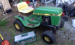 Two John Deere mowers, one a 111 , one 110 , only one motor 11 horse , spark issue, both bodies are gexcellent new belt on the 111, tires good on 111, rims and tires on 110 need rubber or fixing , two mower decks , one 36 in , one 48 in , 500 boo, need