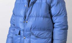 An original Jones/Pioneer Down Jacket. Mens small, double tube construction, w/hood. Small stain on one sleeve.