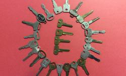 Vintage car keys from 1950's thru 70's. Some older ones uncut. Various American cars represented.