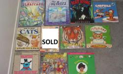 NOW books $1 each The cat that scratched my arctic 1,2,3 Kat Kong Garfield the big star How to draw cats Little witch goes to school - SOLD Wild cats Pizza cat Wanted the great cookie thief Fraggle rock Detective secrets Disney Villains look and find DC
