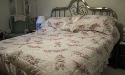 King-size headboard.  Pewter in color.  Pretty well brand new! Used 1 year.  Purchased from Sears for $500.  Taking offers.   King-size bedding as in photo.  Beige/cream background with rose pink flowers and olive green leaves.  Set includes: comforter,