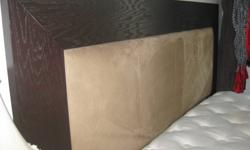 Panel headboard upholstered with Cafe mircofibre, foot board, and bedframe. also..... Barely used King size Restonic Pillow top mattress from Best Sleep Center. Bedframe and mattress can be sold separately or together. Bedframe- $300 Mattress- $250 Please