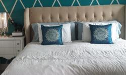 Color as shown in photo. Velvet upholstered bed frame includes side rails and bed frame all you need is mattress and boxspring. Fabric has been scotch guarded. No marks or flaws on fabric. Like new condition.