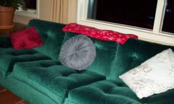 Moving Sale High-back 3 seat couch, Good cond, Beige/Brown/Orange Tapestry Fabric Great for Rec Room/Family Room.  $200.00 Low-Back 3 seat couch,Clean good cond, Deep Green Velvet, factory treated stain guard. $250.00 Kingsize Mattress & Boxspring w/