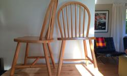 These harp shaped beauties have kept firm chair people happy for years, I am not one of those people. Made in tropical Malaysia, these classics are solid wood, in great shape and have many meals left to attend. Just not at our house. It took three years