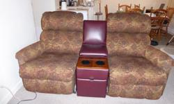 Lovely piece of furniture from smoke-free, pet-free and child-free home. Pinnacle model, with removable leather console to make a loveseat. Recline the feet and legs, recline the back and/or recline both. Very clean and good working condition. We are