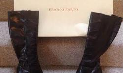 """Ladies Franco Sarto 14"""" High Boots 2"""" heels size 5 1/2 US Synthetic leather dark brown 14"""" high 2"""" stilettoes heels Full side zipper Were over $200 new Excellent condition with no wear $100 Firm *************************************"""