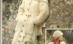 Very smart ladies' long hand-knitted medium grey coat with belt, collar and buttons. Matching knitted hat. Size 16. Pattern pictured. Suitable for those upcoming cold days !