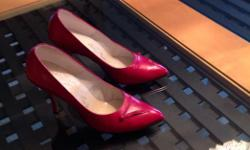 These are ITALIAN made red leather shoes size 4 1/2... They are just a bit small for me.....but I liked them so much I bought them..... Worn twice...... This is your chance to grab a great deal... These are beautiful and good quality shoes......