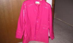 Pink pleather rain coat,size ladies small or would fit teen's 14/16.perfect for Fall or Spring,very good condition,smoke/pet free home