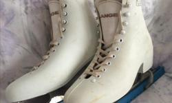 Lange size 7 ladies figure skates...Made in Canada..Gently used by my daughter for skating lessons...Includes skate guards