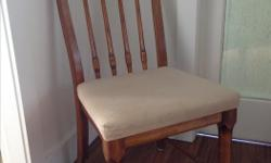"""Large upright chair. 17"""" x 20"""" seat. Back 22"""" high. We believe it is Oak. Moving, must sell. $5"""