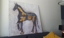 Large Textured Horse Silhouette Canvas Wood Frame Dimensions - 48'' x 48 ''