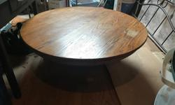 "Pedestal Oak Coffee Table. 46"" diameter and 17"" high. Solid Oak could be refinished or used as is."