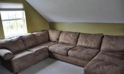 Large Sectional Couch. Fabric. Barely used, very comfortable. Sizes in pictures.