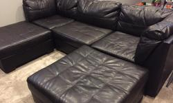 6 piece - there is 2 end pieces, 2 armless pieces (1 not shown), 2 ottoman. Couch pieces 37x37x30, ottoman 37x37x17. Furniture is too large for our new place, in excellent condition. Branch new was $1700. No holds, pick up only.