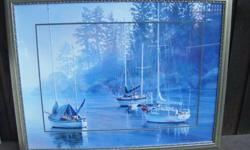 """Large water colour print by Holland 43 1/4"""" wide & 33 1/2"""" high"""