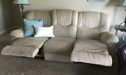 """LaZboy dual reclining sofa, measures 84"""" (l) x 38"""" (h) x 36"""" (d). Easy care beige chenille fabric in excellent condition."""