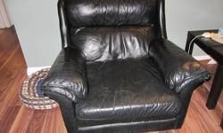 Black leather sofa with matching chair, gently used. Chair is in excellent condition, one of the couch cushions has a small tear in it. Must pick up. From a non-smoking house.