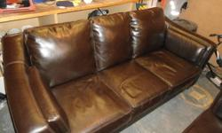 Chocolate brown leather couch and chair combo.  In great condition. Asking $500. 705-567-5869