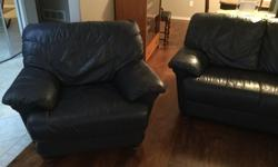 Genuine leather couch and matching arm chairs. No rips, tears or wear areas. Clean non smoking home. Very well maintained. $499.00 O.B.O. Phone 250 752 4160 or 250 927 0454