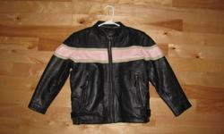 Girls Leathet jackets. Worn twice, Like New condition. Bought new 2 years ago for my daughter to ride with me. Amazing how fast they grow !  Would fit a girl 7-11 years old.  Black leather with Pink Leather band. Zipper cuffs. Paid 125.00