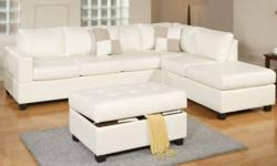 This sectional set includes a sofa, chaise (reversible!), storage ottoman, and 2 throw pillows, plus a 1 year warranty! Available in white or espresso leather. Worth $1900 must sell - $999(plus tax) Free delivery in Lower Mainland! Please respond to ad or