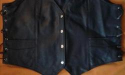 Wear your safety gear when you ride Excellent condition Used twice Leather Vest size 4xL fits man or woman Leather Chaps XL Man or woman