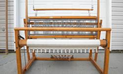 """I have for sale 45"""" Nilus Leclerc weaving loom, Floor model Vertical Warping Reel 68""""x59"""" [4 yards per turn and can warp up to 50 yards], bench with top that opens for storage 23"""", box of accessories which include raddles, shuttles, heddles etc.,  box of"""