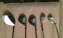 -Taylormade R1 Driver w/ Stiff Shaft, minor paint chipping near heel -Taylormade R9 3/5 Woods w/ Regular Shaft -Odyssey White Hot Rossie -AMF 60 Degree Wedge