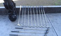 Left Handed Clubs 3-9 irons Sand Wedge Wedge Putter 1-3 Drivers (never used) Bag Pull Cart (not shown) OBO!!!!