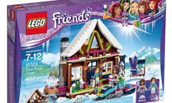 Lego Friends Snow Resort Chalet. New, unopened box. Our granddaughter already has it. The set has an outdoor hot tub, kitchen and a lounge area with log fire. Upstairs there's a bedroom with 3 beds, vanity and a dog bed. There's also a snowmobile for