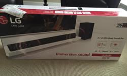 LG LAS454B 2.1 ch sound bar and wireless subwoofer Unopened in box (bought two, ended up only needing one) Currently selling at Best Buy for $300